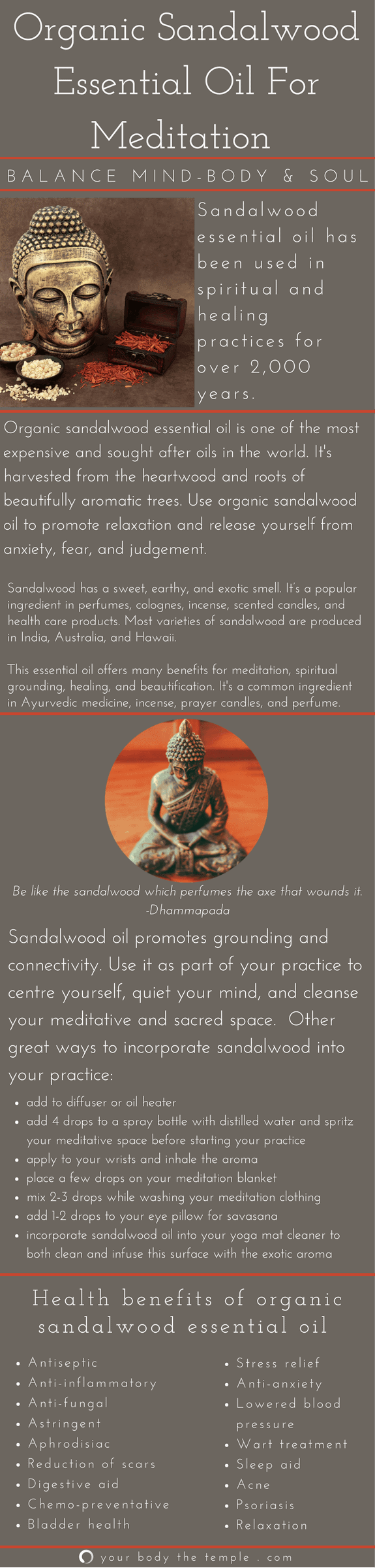Organic Sandalwood Essential Oil For Meditation And Health