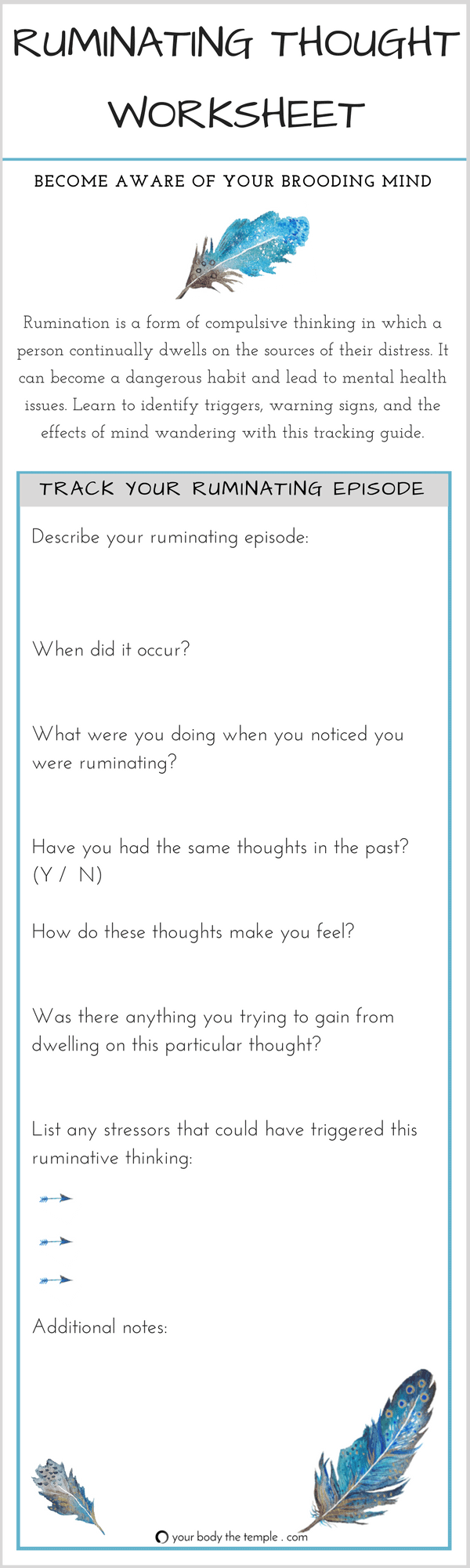 ruminating thought worksheet